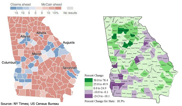Georgia Election & Census Map Comparison